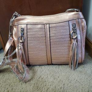 B. Makowsky rose gold leather crossbody bag